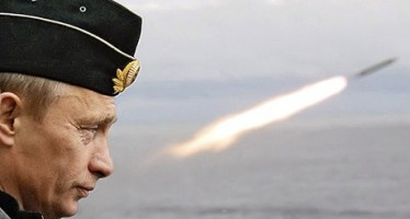 Russian President Putin watches the launch of a missile during naval exercises in Russia's Arctic