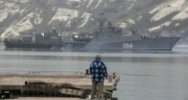 A Russian navy ship enters the Crimean port city of Sevastopol