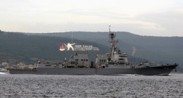 The U.S. Navy guided-missile destroyer USS Truxtun sets sail in the Dardanelles straits, on its way to the Black Sea