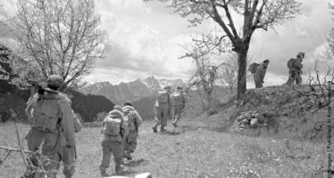 A band of Greek army commandos on the move during the Greek Civil War