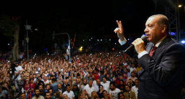 Turkish President Tayyip Erdogan addresses his supporters outside his residence in Istanbul, Turkey, early July 19, 2016, in this handout photo provided by the Presidential Palace. Kayhan Ozer/Presidential Palace/Handout via REUTERS ATTENTION EDITORS - THIS PICTURE WAS PROVIDED BY A THIRD PARTY. FOR EDITORIAL USE ONLY. NO RESALES. NO ARCHIVE.