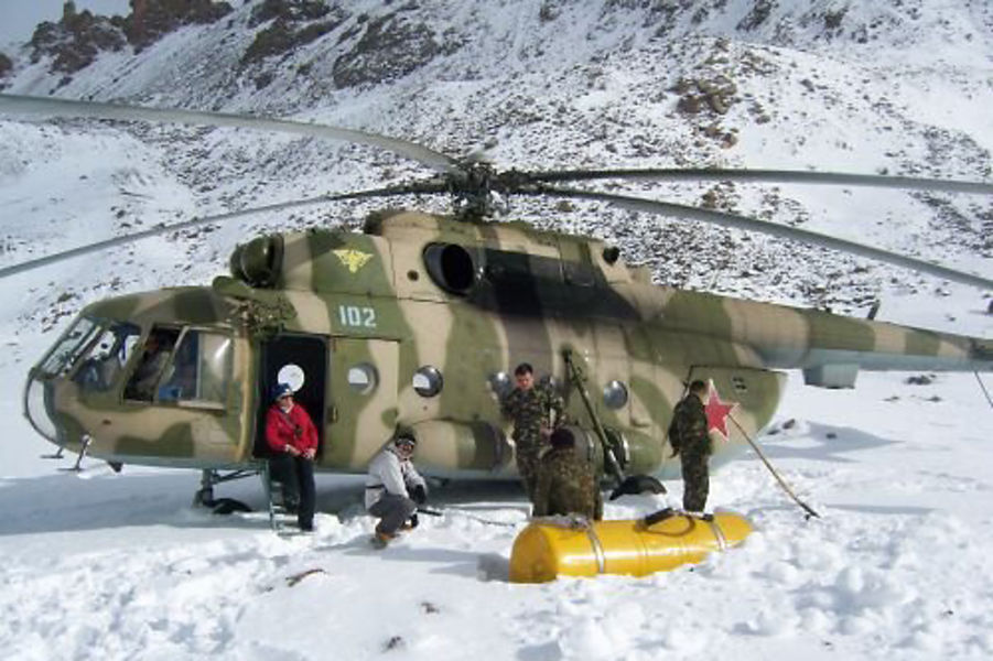 Front - It's no Whistler or Chamonix, but Kyrgyzstan does have dozens of mountains for adventure skiing. (Photo: Muza Travel) Popup - It's no Whistler or Chamonix, but Kyrgyzstan does have dozens of mountains for adventure skiing. (Photo: Muza Travel) Story Page - A Russian-made Mi-8MTV helicopter belonging to the Kyrgyz military delivers adventure skiers to the difficult-to-reach peaks in the Tien Shan Mountain Range. Kyrgyzstan as a winter sports destination is growing slowly, mainly due to poor infrastructure, expensive flights to the region, and political instability. (Photo: Muza Travel)