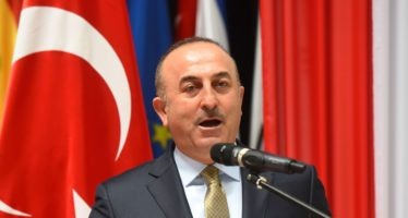 Turkish Foreign Minister Mevlut Cavusoglu speaks during a joint press conference offered along with Paraguayan Foreign Minister Eladio Loizaga (out of frame) at the Foreign Ministry in Asuncion on January 31, 2017. / AFP / Norberto DUARTE        (Photo credit should read NORBERTO DUARTE/AFP/Getty Images)