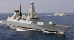 Pictured is HMS DEFENDER conducting joint military training in the Indian Ocean with the French ship FS PROVENCE (D652).  The Type 45 destroyer, also known as the D or Daring class, is an advanced class of guided missile destroyers built for the Royal Navy.  Destroyers are part of the backbone of the Royal Navy, committed around the world 365 days a year hunting pirates, drug runners or submarines, defending the Fleet from air attack, and providing humanitarian aid after natural disasters.  Britain's 6 Type 45 destroyers are the most advanced warships the nation has ever built. Their mission is to shield the Fleet from air attack using Sea Viper missile which can knock targets out of the sky up to 70 miles away.  FS PROVENCE (D652) Third FREMM (Aquitaine class) built for the French navy, but the second in service in the fleet since the No. 2 (Normandy) was sold to Egypt.