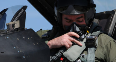 Lt. Col. Thomas Kilroy, 93rd Fighter Squadron, assistant director of operations, prepares for a local area orientation flight at Andravida Air Base, Greece, Mar. 24, 2017.  Kilroy will participate in INIOHOS 17 a exercise conducted to strengthen the relationship with NATO allies and partner nations. (U.S. Air Force photo by Staff Sgt. Ciara Gosier)