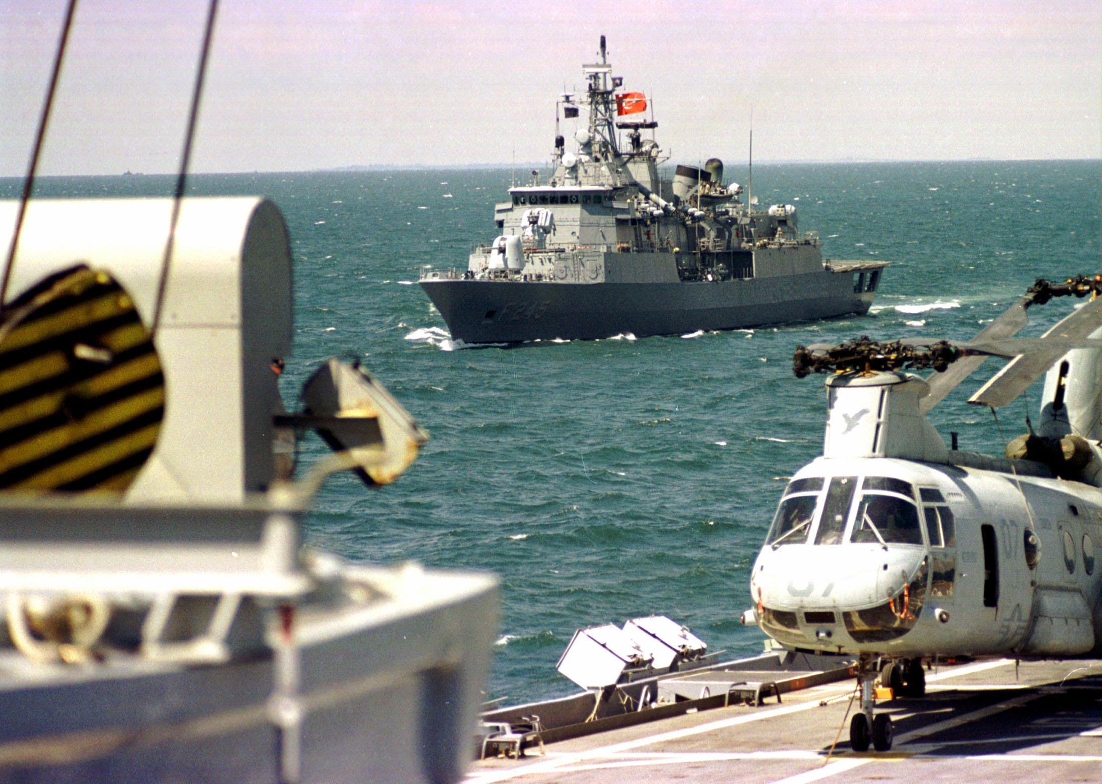 "Exercise ""Co-operative Partner 2000"" in Odessa (Ukraine), June 2000. - Turkish ship (background)"