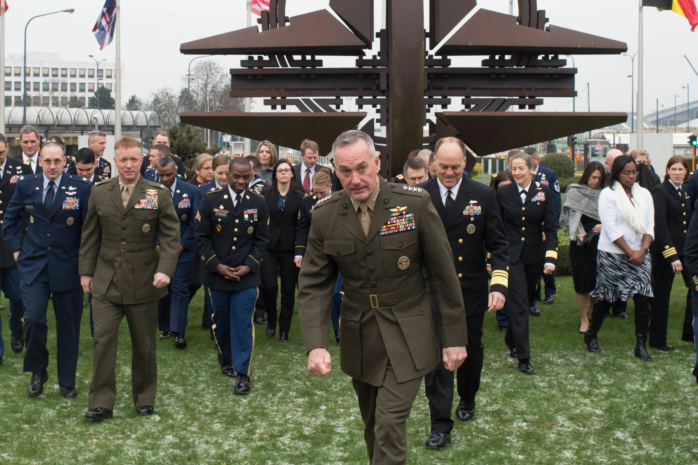 U.S. Ambassador to North Atlantic Treaty Organization (NATO), Ambassador Douglas Lute, and U.S. Chairman of the Joint Chiefs of Staff, Marine Gen. Joseph F. Dunford Jr., meet at the NATO headquarters in Brussels, Belgium, Jan. 20, 2016. NATO provides a unique opportunity for member countries to consult and take decisions on security issues at all levels and in a variety of fields. (DoD photo by D. Myles Cullen/Released)
