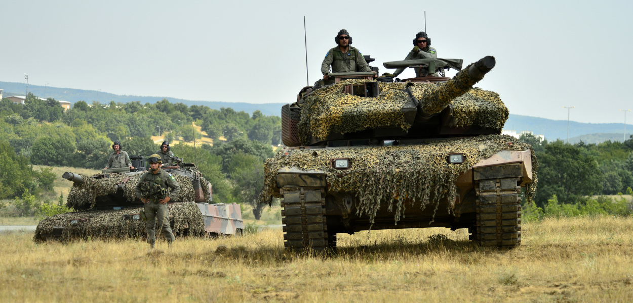 Greek Soldiers participate in a multinational field training exercise, Eagle Sentinel 17, at Novo Selo Training Area, July 12. The exercise consists of armor, aviation and light infantry forces and is linked to Saber Guardian 17, a U.S. Army Europe-led multinational exercise that spans across Bulgaria, Hungary and Romania with more than 25,000 service members from 22 allied and partner nations. (U.S. Army photo by Capt. Leslie Reed)
