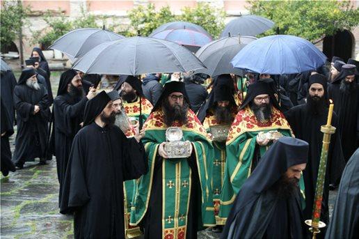 Αγρυπνία στο Βατοπαίδι  Ευχές για τον Κορωνοϊό 1